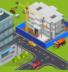 urban construction isometric composition vector image