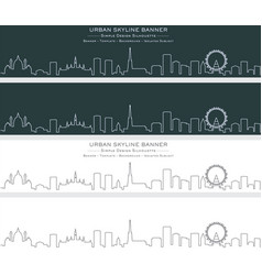 vienna single line skyline banner vector image