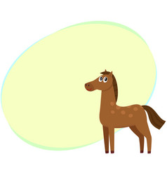 well gromed brown horse with big eyes cartoon vector image