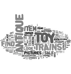 Where to find antique toy trains for sale text vector