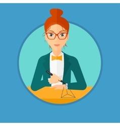 Woman using three D pen vector image