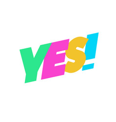 yes sign cute color for banner vector image