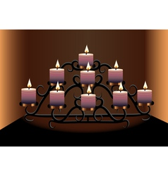 an old chandelier with candles vector image