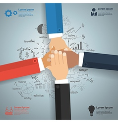 Business team showing unity with drawing charts vector image vector image