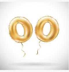 golden number 00 two zeros metallic balloon party vector image