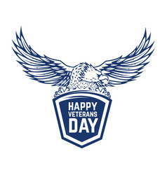 happy veterans day emblem with eagle isolated on vector image vector image