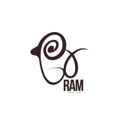 Stylized ram sheep lamb outline graphic logo vector image