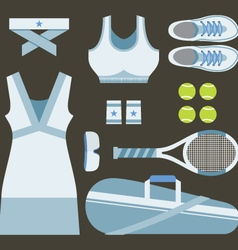 Top View Set Of White Tennis Women Gears vector image
