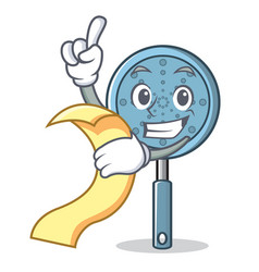 with menu skimmer utensil character cartoon vector image vector image