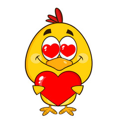 yellow chick character holding a valentine heart vector image vector image