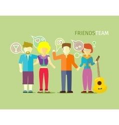 Friends Team People Group Flat Style vector image vector image
