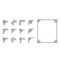 set of ornamental corners different style vintage vector image