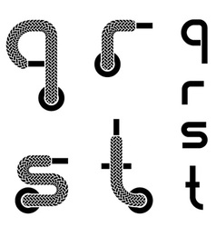Shoelace alphabet lower case letters q r s t vector
