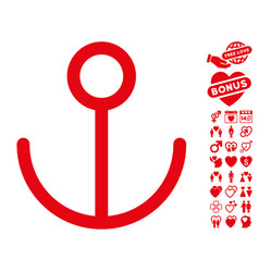 anchor icon with lovely bonus vector image