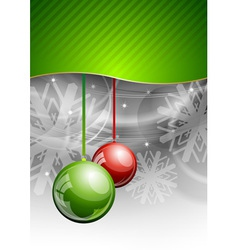 christmas background with two balls vector image vector image