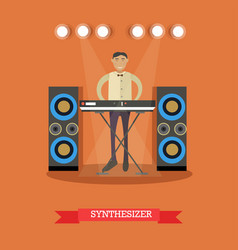 flat of young musician playing vector image vector image