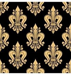 Royal yellow fleur-de-lis seamless floral pattern vector