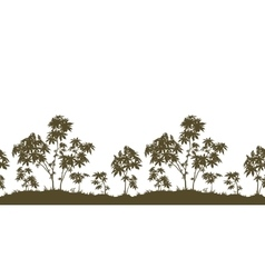 Seamless castor plants and grass silhouette vector