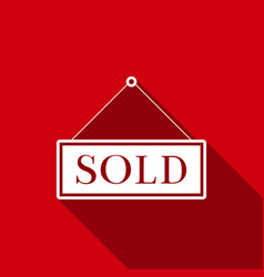 sold sign with long shadow sold sticker vector image