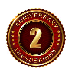 2 years anniversary golden label vector image vector image