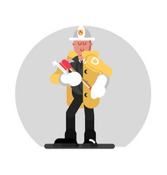 fireman standing with axe vector image