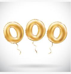 golden number 000 three zeros metallic balloon vector image vector image