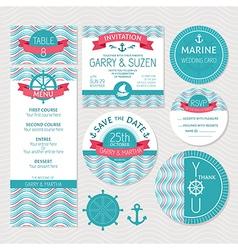 Set of marine wedding cards vector image vector image