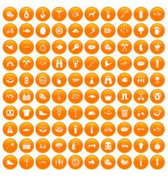 100 bbq icons set orange vector