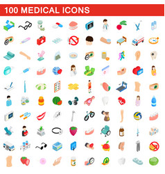 100 medical icons set isometric 3d style vector image