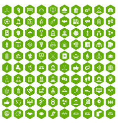 100 team icons hexagon green vector