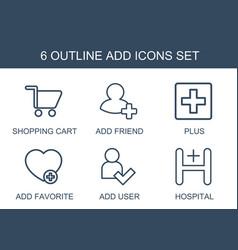 6 add icons vector