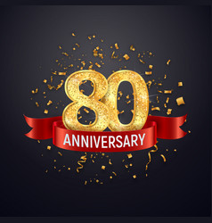 80 years anniversary logo template on dark vector