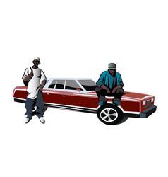 african-american mens dressed as rapper vector image