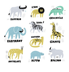 African animals hand drawn characters set vector