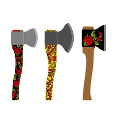 Axe traditional Russian pattern of colors vector image