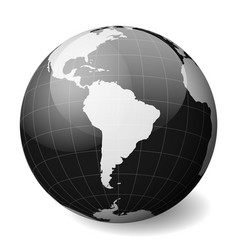 black earth globe focused on south america with vector image