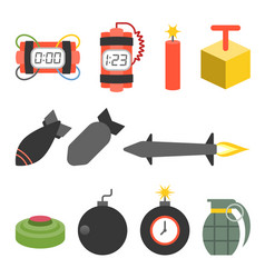 Bomb and dynamite icons set vector