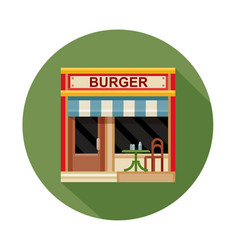 Burger cafe front view flat icon vector