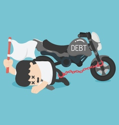 Business chained on ankle the debt of a motorcycle vector