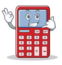 Call me cute calculator character cartoon vector