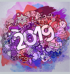 cartoon cute doodles hand drawn 2019 year vector image