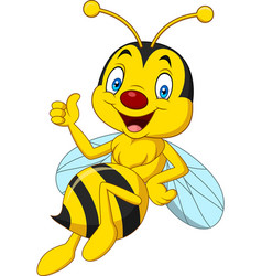 cartoon happy bee giving thumbs up vector image