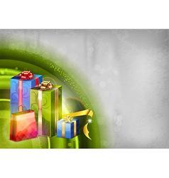 Christmas background green light corner round vector