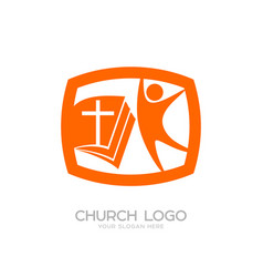 church logo and cristian symbols vector image