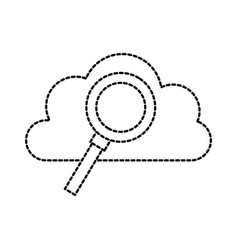 cloud computing magnifier find storage system vector image