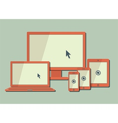 Computer moniter laptop tablet and smart phone vector