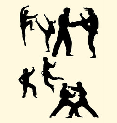 couple exercising karate silhouette 04 vector image