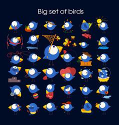 cute birds in cartoon set vector image
