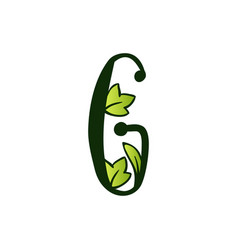 Doodling eco alphabet letter gtype with leaves vector