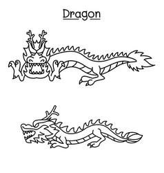 Dragon in thin line style vector